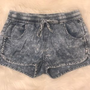Stone washed jean shorts